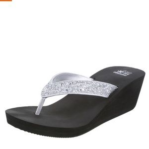 Sparkly Silver Strap Wedges